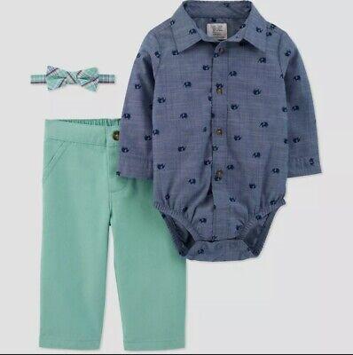 Carter's 3Pc Baby Boys Elephant Bodysuit, Bowtie & Pants Set Size: 3 Months