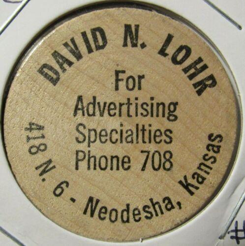 Vintage David N. Lohr Advertising Neodesha, KS Wooden Nickel - Token Kansas #1