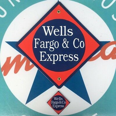 Wells Fargo Railroad Porcelain Coated 18 Gauge Steel Sign Includes Magnet