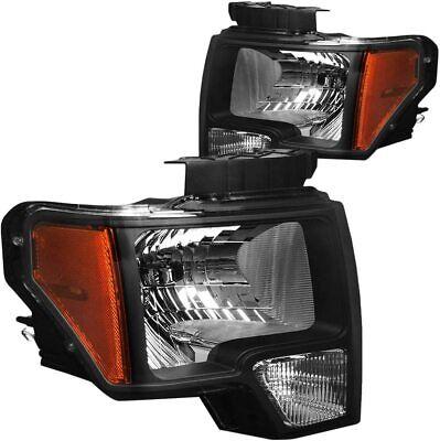 For 09-14 Ford F-150 HeadLights Head Lamps Black  Amber  Set Pair LH+RH 2 PCS
