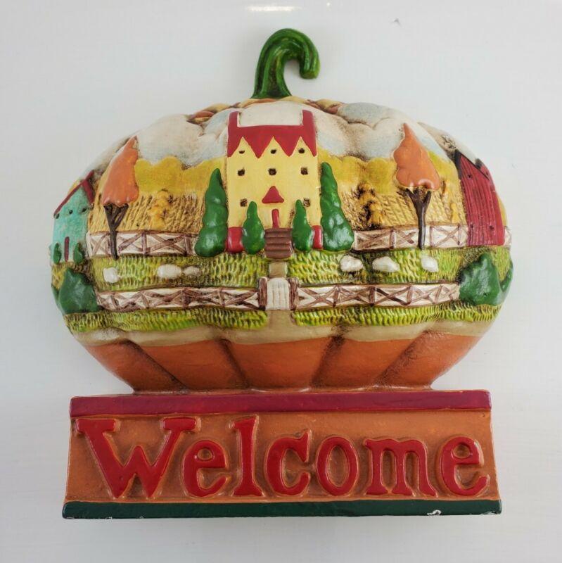Jim Shore Welcome Cast Iron Metal Fall Leaves Doorstop Pumpkin Shape