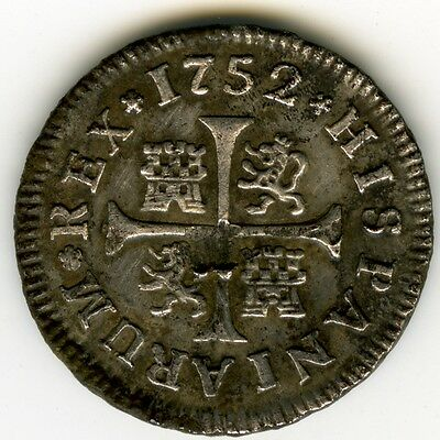 Spanish Silver     Real 1752 Madrid Jb   Fernando Vi   Cal 653 Hispanic  C3377
