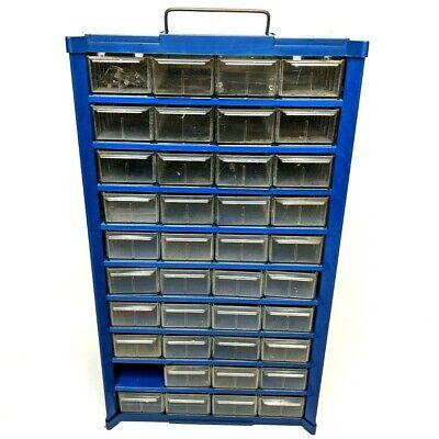 Blue 40 Drawer Storage Cabinet Tool Part Bin Vtg Metal Handle Dividers Missing 1