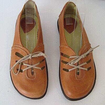 SERGIO TOMANI Orange Leather Lace-Up Flat Shoes Size 36 Rare, occasion d'occasion  Expédié en Belgium