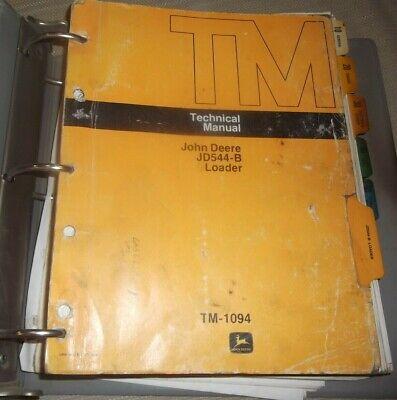 John Deere Jd-544-b Loader Technical Service Shop Repair Manual Book Tm-1094