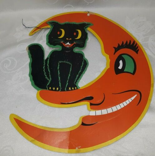 VINTAGE BEISTLE PAPER HALLOWEEN DECORATION CAT & MOON TLC $27.99
