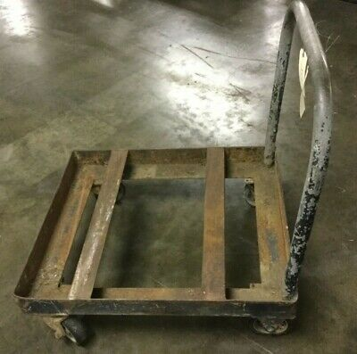 Industrial Metal Cart W 6 Casters 37l X 31w X 12 H 40 H To Handle Top