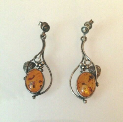 Vtg. Art Nouveau Baltic Amber Sterling Silver Leaves Grapes Dangle Earrings 925