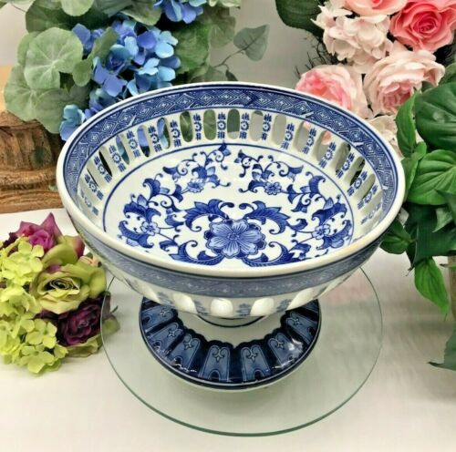 "Vintage Oriental Cobalt Blue & White Pierced Porcelain Pedestal Bowl 10 1/2"""