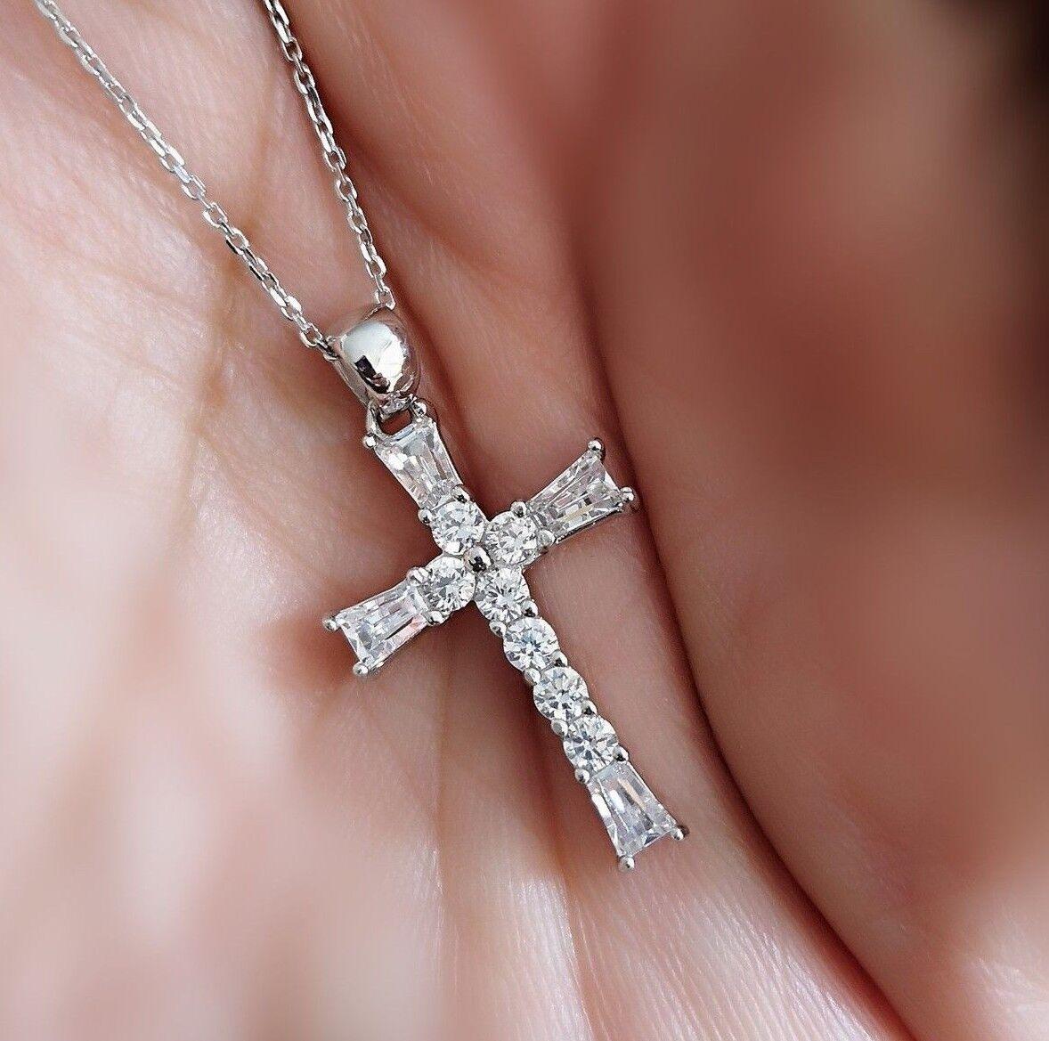 1Ct Diamond Cross Pendant Necklace with Chain 14K White Gold over Women's Men's
