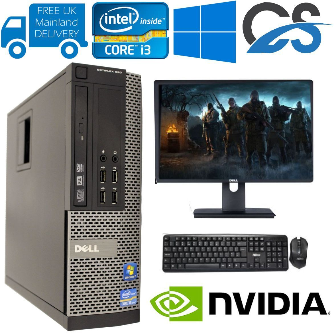 Computer Games - FAST GAMING DELL BUNDLE TOWER PC FULL SET COMPUTER SYSTEM INTEL i3 8GB 1TB GT710