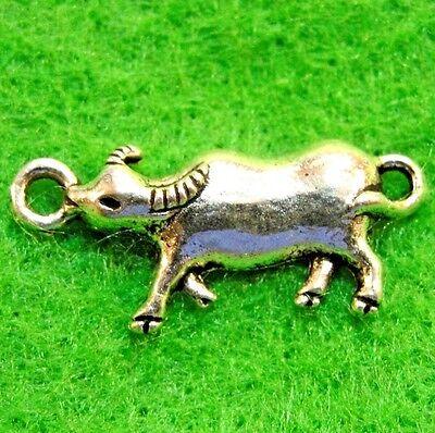 50Pcs. WHOLESALE Tibetan Silver Steer BULL Animal Charms Pendant Ear Drops Q1176