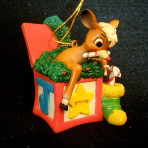 VINTAGE 1998 RUDOLPH THE RED NOSED REINDEER ORNAMENT~THE MOVIE~TREVCO~NIOB