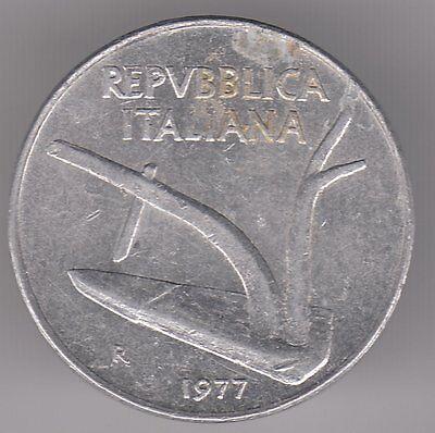 Italy 10 Lire 1977 Aluminum Coin - Plough
