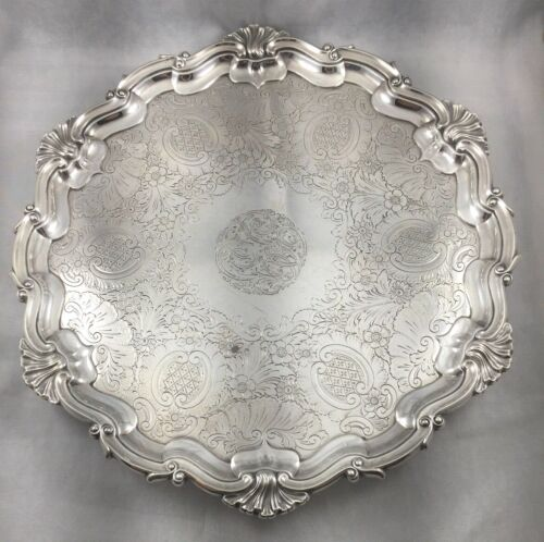 Hawksworth, Eyre & Co. English LTD 1905 London Sterling  Footed Salver-12""