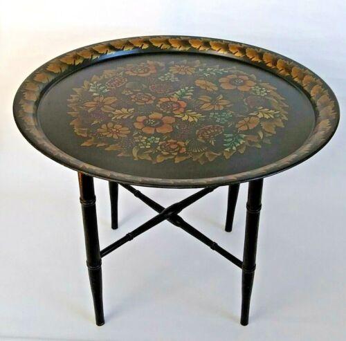 Vintage Tole Tray Table w/ Folding Legs
