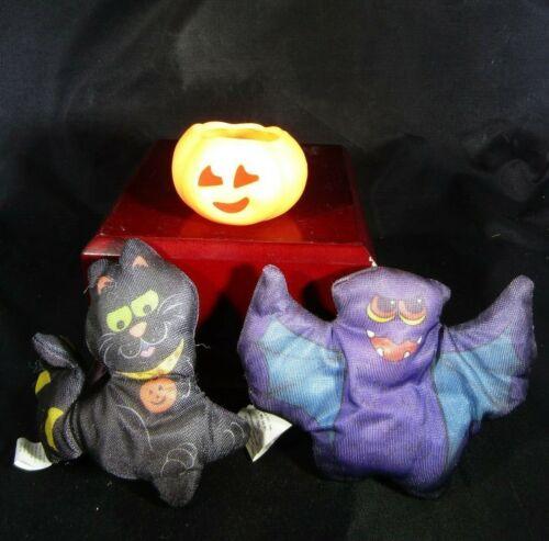 Vintage Halloween Decorations- Pillow Bat- Plastic Pumpkin- Pillow Cat
