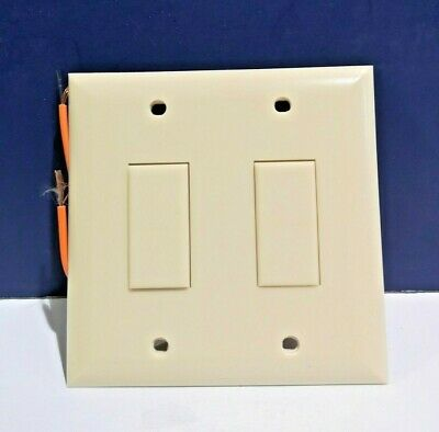 Double Switch Wall Plate (Touch Plate Double Gang IVORY Toggle Switch Built in Wall Plate 1400B NEW WOW)