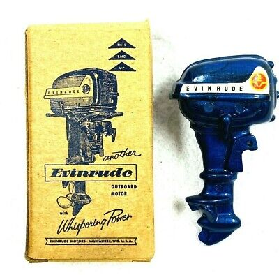 Vintage 1957 EVINRUDE Toy Outboard Motor Promo Advertising Pin MINT W/Box USA