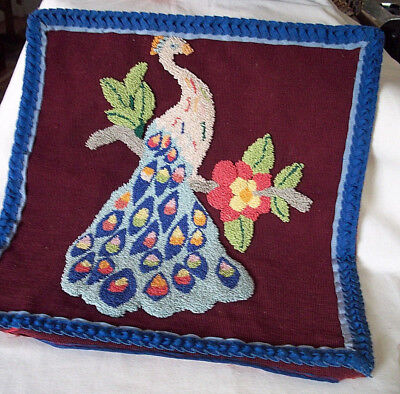 Antique pillow fine hand stiched peacock needlework fabric silk art deco vintage