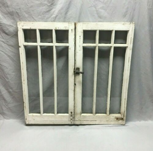 Pair Antique 6 Lite Casement Door Windows Cabinet Shabby Vtg Chic Old   93-19J