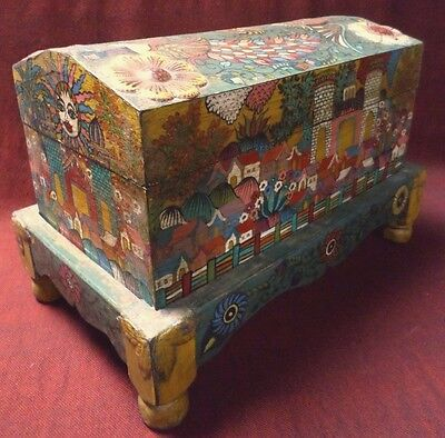 "Mexican Folk Art 17"" Carved Wood Chest Baul Box Colonial Painted Church Village"
