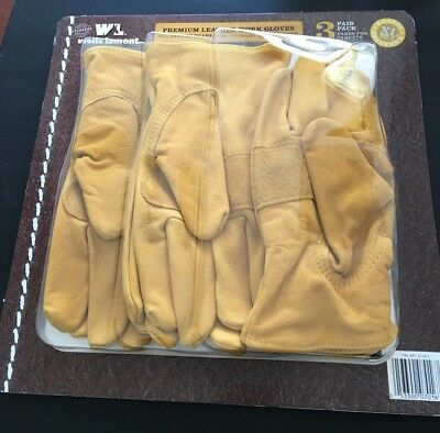 Wells Lamont Premium Leather Work Gloves 3 Pair Pack X-large