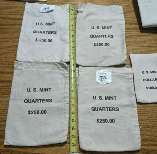 (4) $250 U.S. MINT CANVAS BAGS and (1) $100 BAG (NO COINS)