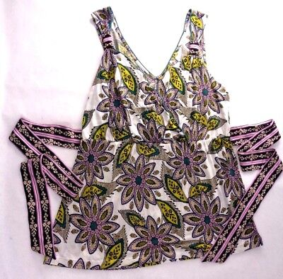 Anthropologie C.Keer Floral Empire Waist Tie Back Tank Blouse Shirt Womens Large