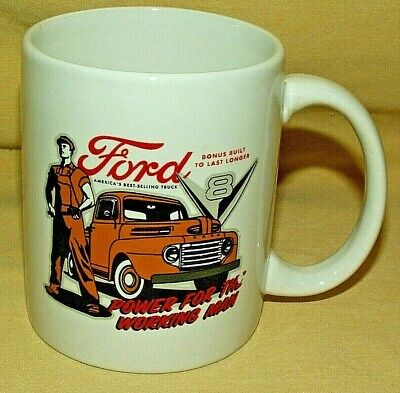 FORD MUG V8 PICKUP TRUCK CUP YELLOW BEST SELLING BUILT TO LAST DAD FATHERS