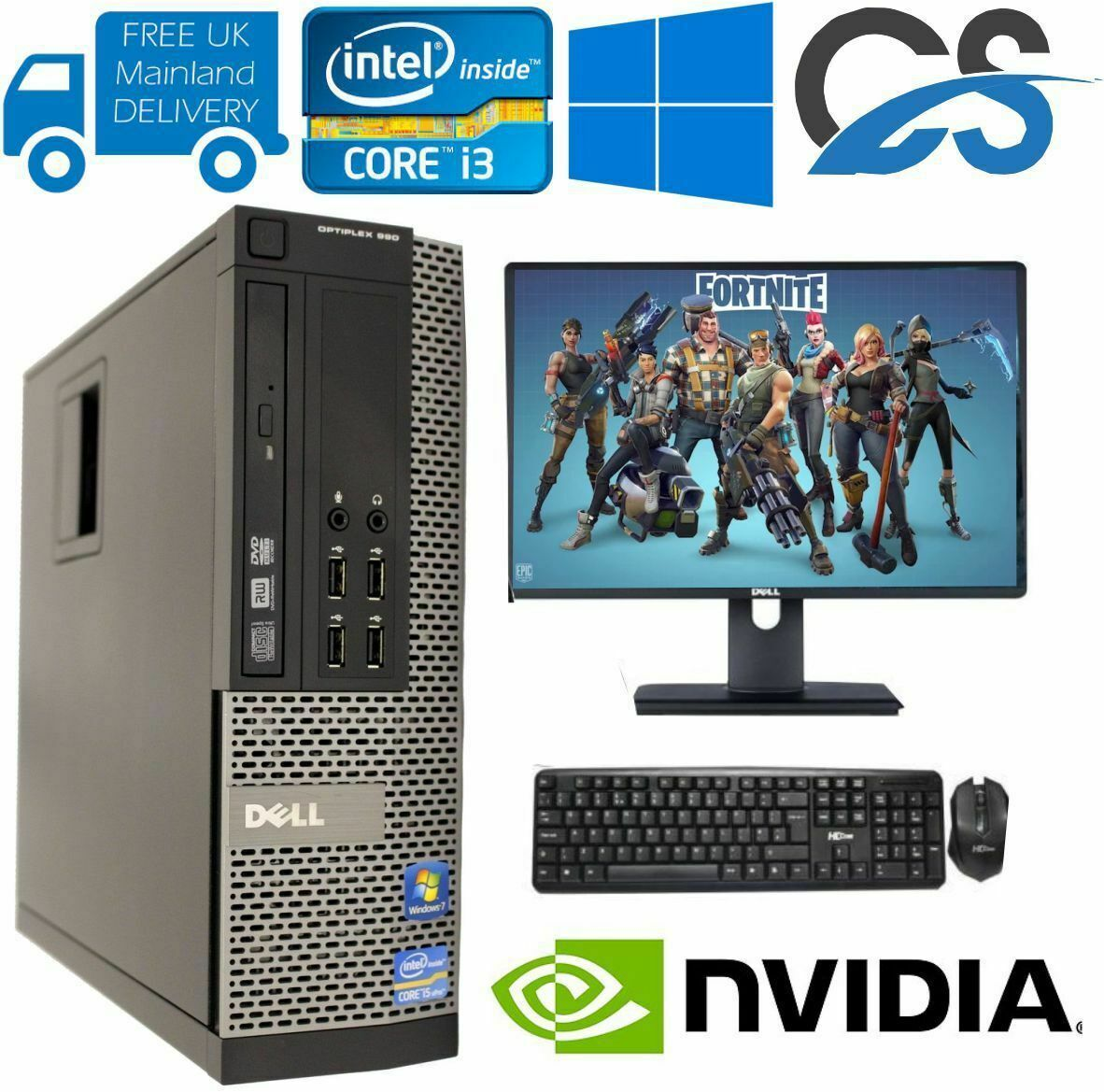 Computer Games - FAST GAMING DELL BUNDLE TOWER PC FULL SET COMPUTER SYSTEM INTEL i3 8GB RAM GT710