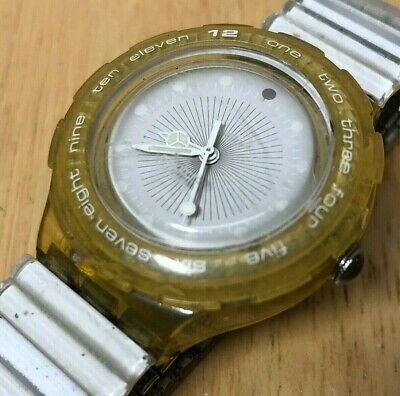 Swatch Swiss Men Clear Yellow Moving Bezel Analog Quartz Watch Hours~New Battery