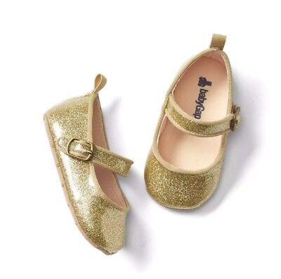 Antiqued Flat Girl (Baby Gap Girl's Antique Gold Glitter Pixie Dust Mary Jane Shoes Sz. 12-18 M)