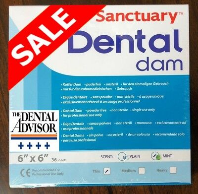 5 Box180 Pcs Sanctuary Dental Rubber Dam Latex 6x6 Sheet Thin Mint Green 36pk