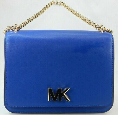Michael Kors Mott Grande Cadena Cuero Bolsa de Hombro Azul Eléctrico 35S0G0XL3T