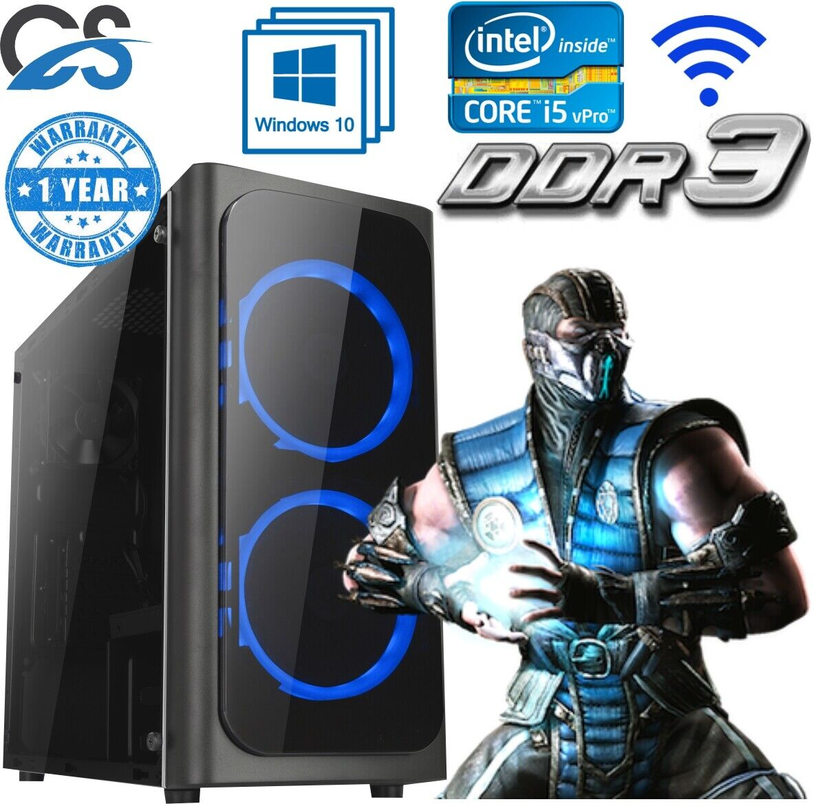 Computer Games - FAST Gaming Computer PC Intel Core i7 2600 8GB 120GB SSD Windows 10 2GB GT710