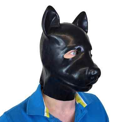 Latex-Gummi Schwarz Fetisch Hund Schweinemaske Ganzkopf Haube Tier