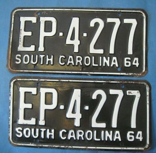 1964 South Carolina license plates matched pair