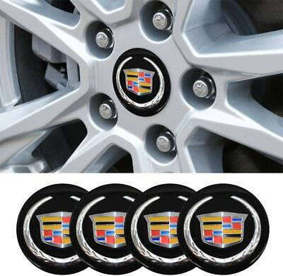 4x 56MM BLACK WHEEL CENTER CAP DECAL STICKER FOR CADILLAC STS CTS ATS SRX XT5