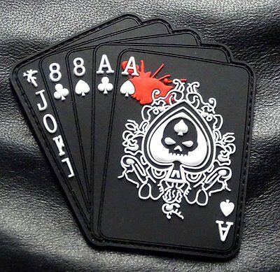 Dead Mans Hand Aces Full Of 8S Spade 3D Pvc Rubber Hook Pvc Patch  Pv2