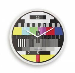 NEW Kikkerland TEST SCREEN Wall Clock MTV Television Retro Mid-Century Modern