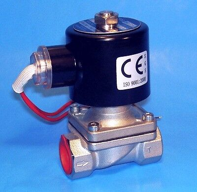 Stainless 34 Electric Solenoid Valve - 12 Volt Dc Normally Closed Operation