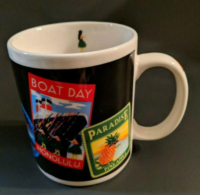Travel Labels MUG Islander Group Hawaii Hula Girl Paradise Ceramic Coffee Cup