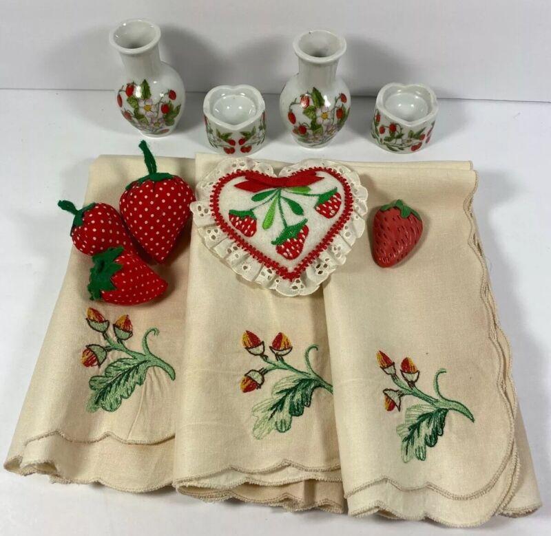 Vintage Strawberry Lot 100% Cotton Linens West Germany Vases
