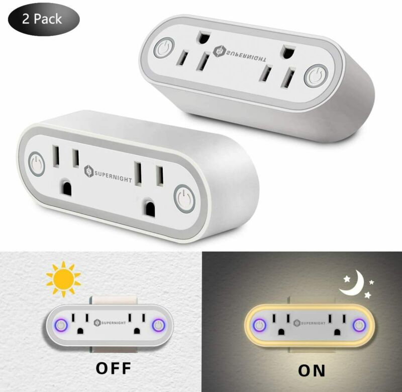 2Pcs WiFi Socket Smart Plug Swtich Outlet with Night Light For Alexa Google Home