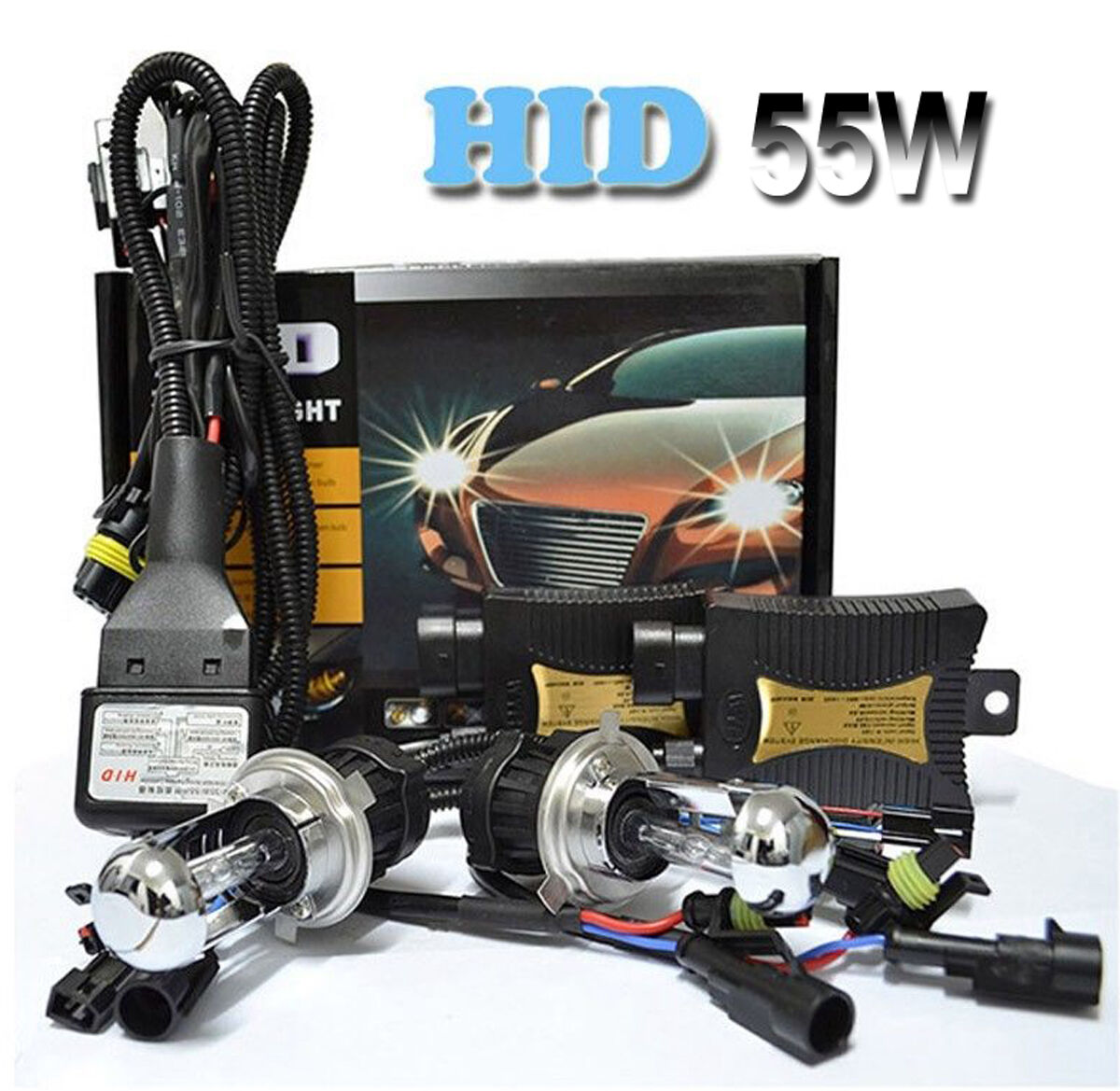 55w hid xenon headlight conversion kit h1 h3 h4 h7 h11. Black Bedroom Furniture Sets. Home Design Ideas