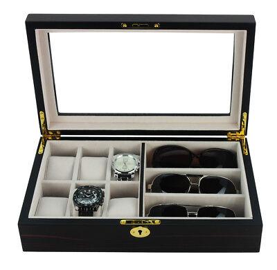 6 WATCH 3 EYEGLASS EBONY WOOD WALNUT STORAGE DISPLAY GLASSES CASE ORGANIZER BOX