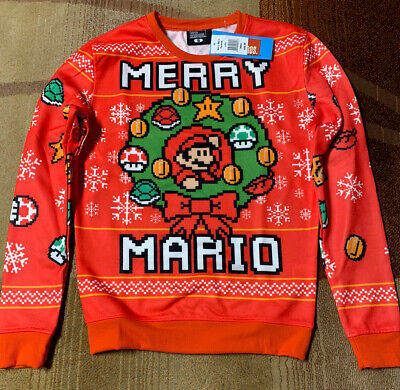 Nintendo Super Mario Bros. Merry Mario Ugly Christmas Holiday Sweater Size Small