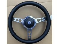 "New 14/"" Leather Steering Wheel /& Hub Adaptor Triumph TR4 TR4A TR6  Black Spokes"