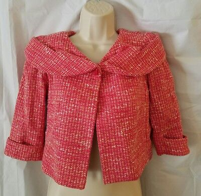 Douglas Hannant sz S Hot Pink Coral Tweed Woven One Button Crop Jacket - Hot Pink Tweed